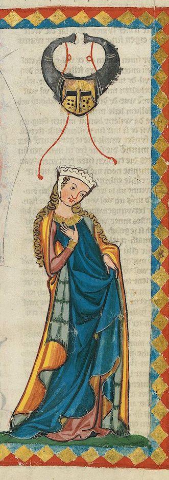 Dame, gotische Miniatur aus dem Codex Manesse, um 1300