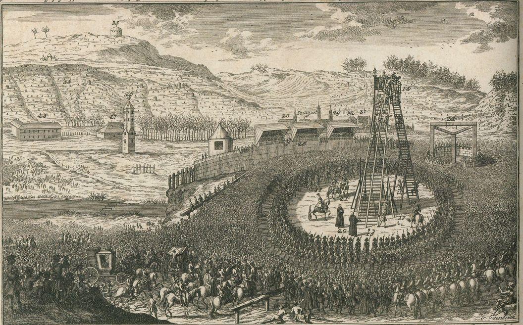 Überhöhte Darstellung der Hinrichtung des Jospeh Süß Oppenheimer vor den Toren Stuttgarts. Kupferstich von Lucas Conrad Pfandzelt und Jacob Gottfried Thelot, 1738