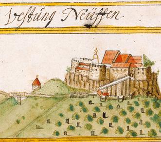 Festungsruine Hohenneuffen, Ansicht aus dem Kieserschen Forstbuch, 1683