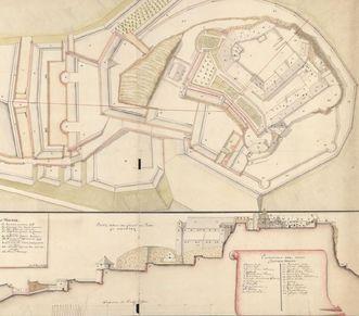 Festungsruine Hohenneuffen, Plan von Bartholomaeus Meyer, 1743; Foto: Württembergische Landesbibliothek Stuttgart