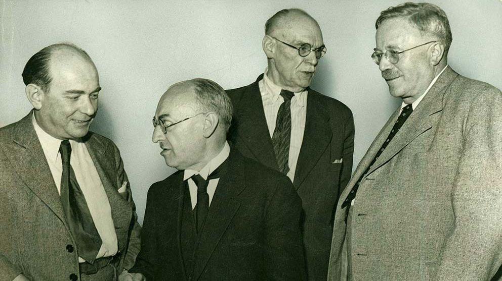 Innenminister Viktor Renner, Tübingen,  Staatspräsident Leo Wohleb, Freiburg im Breisgau, Finanzminister Heinrich Köhler, Karlsruhe, Ministerpräsident Reinhold Maier, Stuttgart